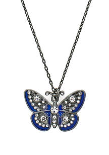 Hematite-Tone Butterfly Pendant Necklace