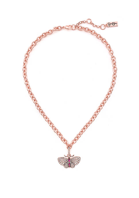 Rose Gold-Tone Butterfly Pave Necklace