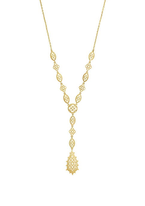 Jessica Simpson Gold Tone Filigree Y Necklace