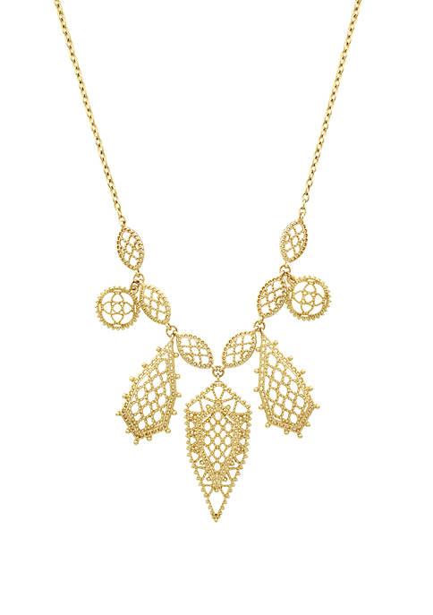 Jessica Simpson Gold Tone Filigree Frontal Necklace