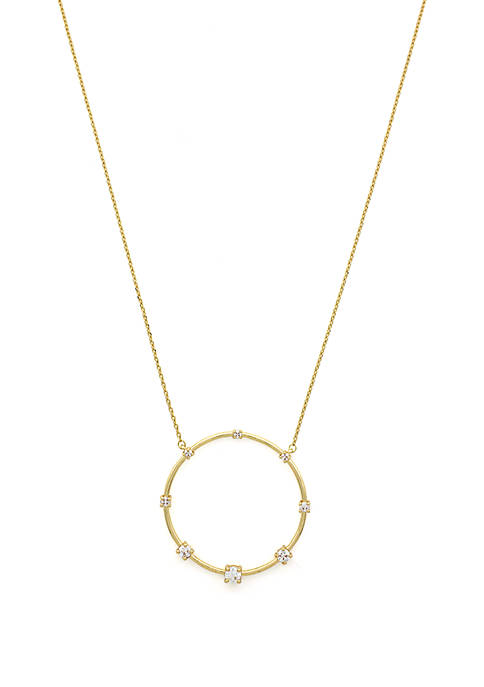 Jessica Simpson Circle Pendant Necklace with Cubic Zirconia