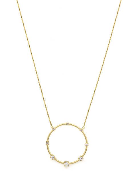 Circle Pendant Necklace with Cubic Zirconia Stones