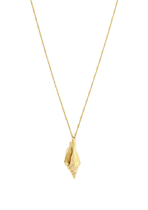 Jessica Simpson Gold Tone Shell Pendant Necklace