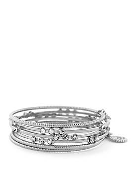 6-Piece Crystal Bangle Bracelet Set