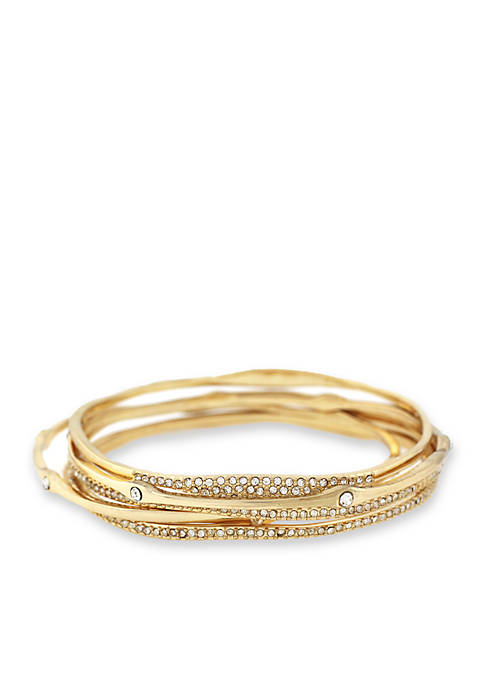 Jessica Simpson Gold-Tone Twisted Pave 5-Piece Crystal Bangle