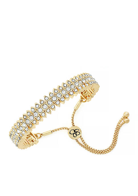 Jessica Simpson Gold-Tone Crystal Satellite Slider Bracelet