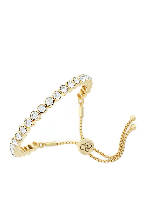 Jessica Simpson Gold-Tone Small Round Crystal Slider Bracelet