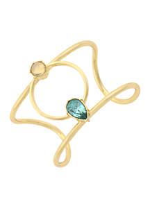 Gold-Tone Cuff Stone Bracelet
