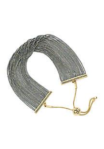 Bead Chain Slider Gold Tone Bracelet