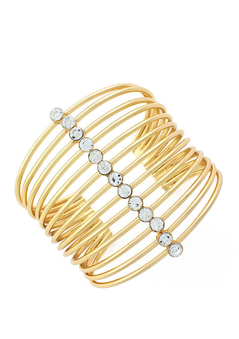 Jessica Simpson Multi Band Cuff Bracelet with Crystal
