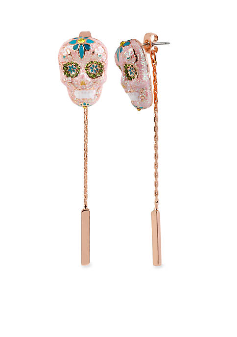 Betsey Johnson Rose Gold-Tone Sugar Skull Front and Back Earring