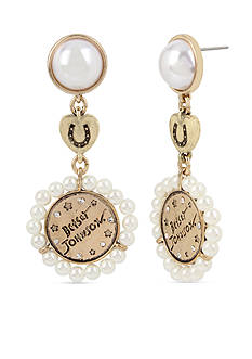 Betsey Johnson Gold-Tone Pearl Double Drop Earrings