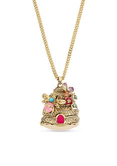 Betsey Johnson Gold-Tone Beehive Pendant Long Necklace