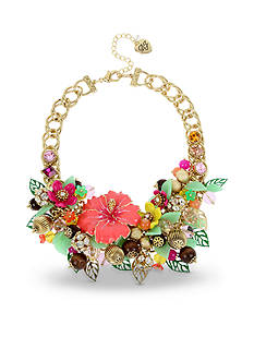 Betsey Johnson Gold-Tone Tropical Mixed Flower & Bead Statement Necklace