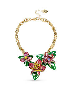 Betsey Johnson Gold-Tone Crystal Tropical Flower Collar Necklace