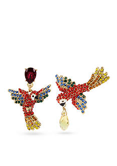 Betsey Johnson Gold-Tone Crystal Tropical Parrot Mismatch Drop Earrings