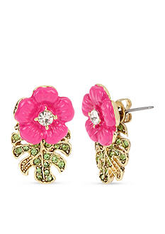 Betsey Johnson Gold-Tone Tropical Flowers & Leaves Front and Back Earrings