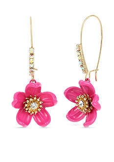 Betsey Johnson Gold-Tone Tropical Flower Elongated Drop Earrings