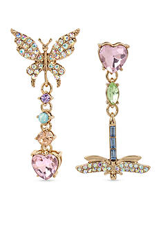Betsey Johnson Gold-Tone Pave Butterfly and Dragonfly Mismatch Drop Earrings