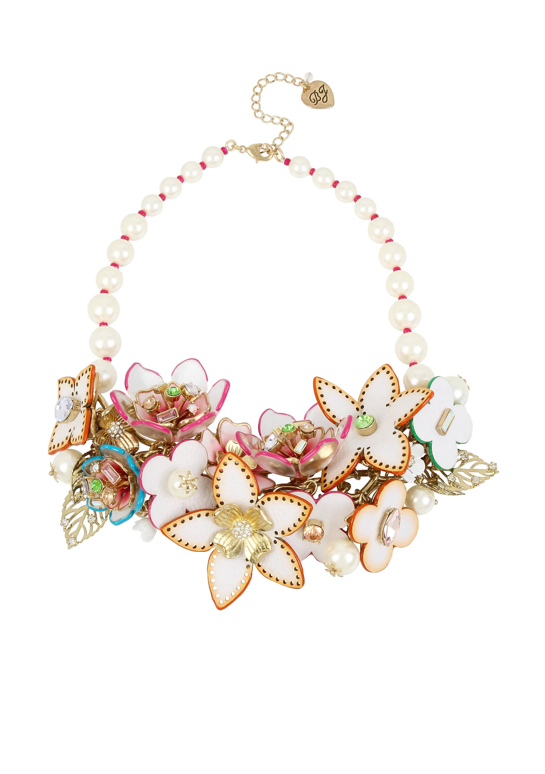 Betsey Johnson Gold-Tone Leather Flower Statement Bib Necklace | belk