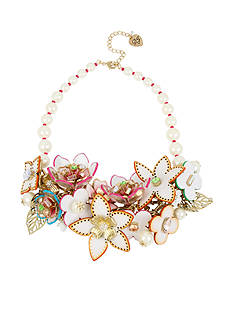 Betsey Johnson Gold-Tone Leather Flower Statement Bib Necklace