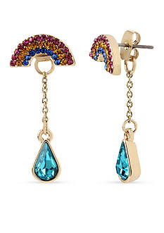 Betsey Johnson Gold-Tone Crystal Rainbow & Stone Front and Back Earrings