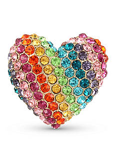 Betsey Johnson Gold-Tone Crystal Rainbow Heart Stretch Ring