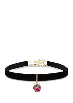 Betsey Johnson Gold-Tone Pave Owl Charm Black Choker Necklace