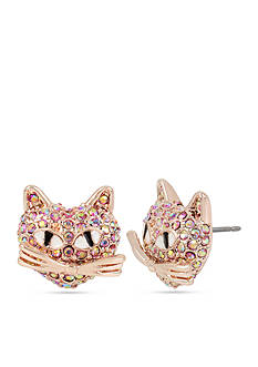 Betsey Johnson Rose Gold-Tone Pink Crystal Cat Stud Earrings