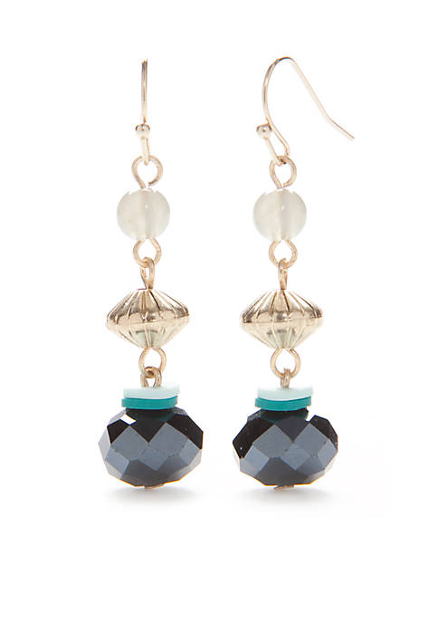 New Directions® Gold-Tone Green Triple Bead Drop Earrings