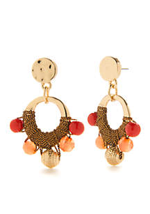 Gold-Tone Coral Coast Drop Earrings