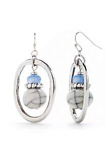 Silver-Tone Small Hoop Beaded Earrings