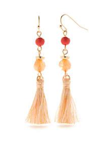 Gold-Tone Coral Coast Tassel Earrings