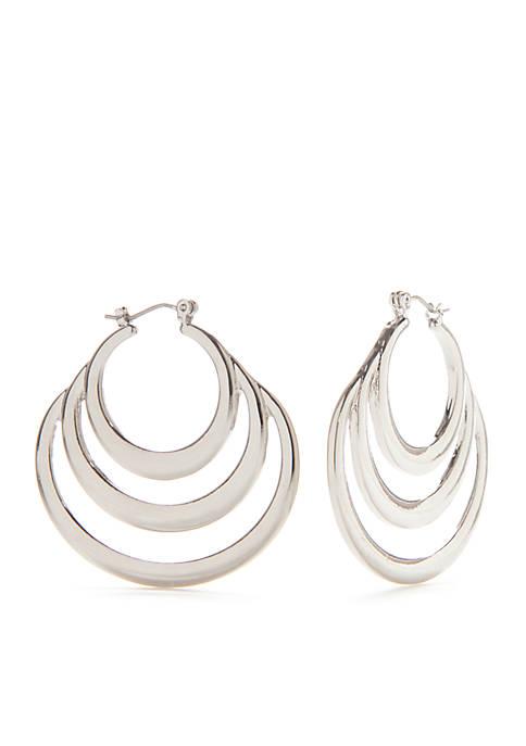 Silver-Tone 3 Row Hoop Earrings