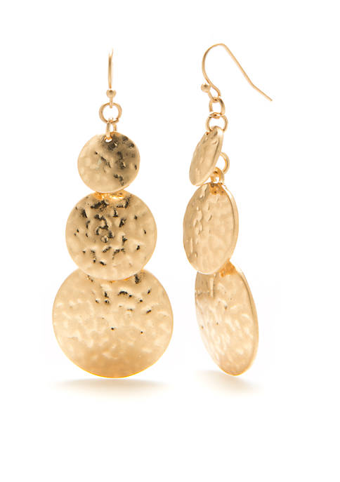 New Directions® Gold-Tone Metal Disc Drop Earrings