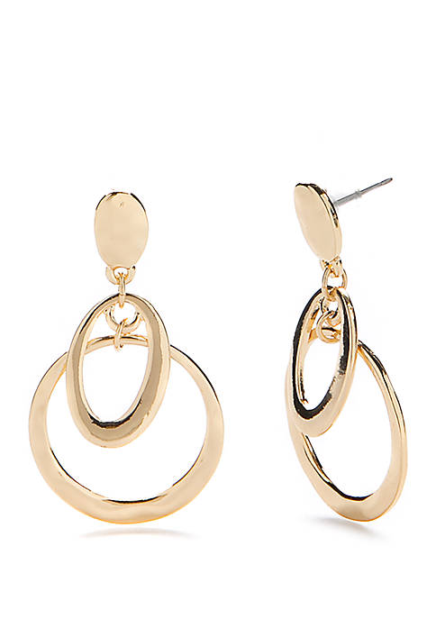 Gold Tone Metal Drop Earrings