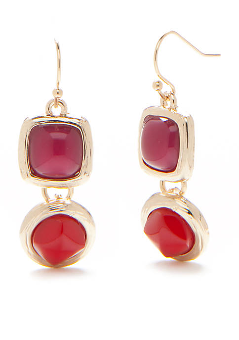 New Directions® Gold-Tone Metal Insert Double Drop Earrings
