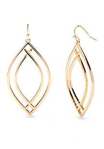 Gold-Tone Metal Navette Earrings