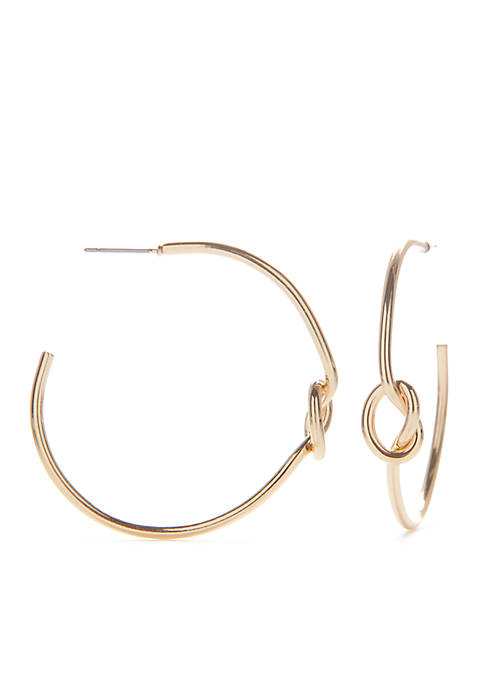 Gold-Tone Knot Hoop Earrings