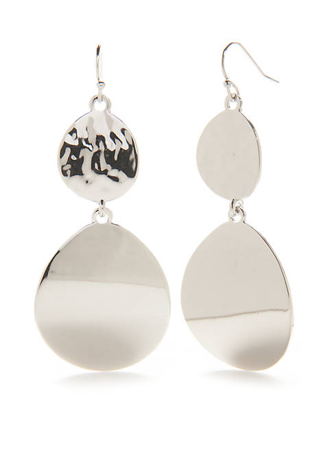 New Directions® Silver-Tone Two Drop Earrings