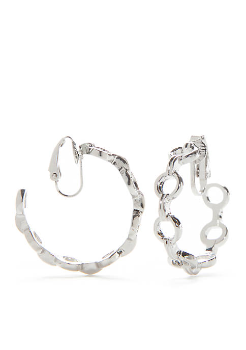 New Directions® Blue Haze Silver-Tone Clip-On Hoop Earrings