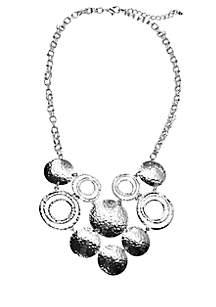 Hammered Disc Bib Necklace