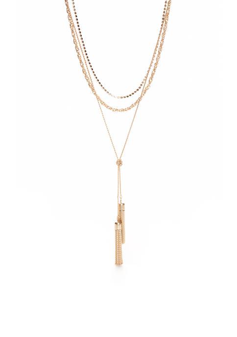 Gold-Tone Layered Tassel Pendant Choker Necklace