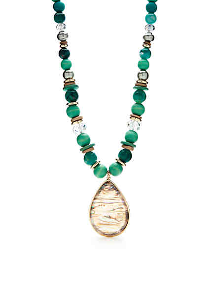 Fashion necklaces statement necklaces belk new directions gold tone beaded long pendant necklace aloadofball Gallery