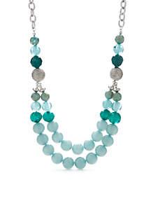 Silver-Tone Multi Bead Necklace