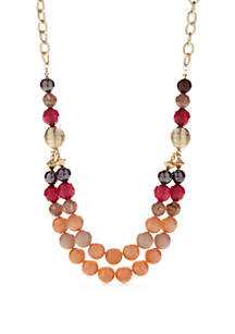 Gold-Tone Single Stand Multi Bead Necklace
