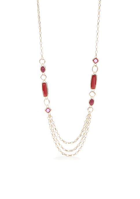 Gold-Tone Metal Insert Chain Stone Necklace