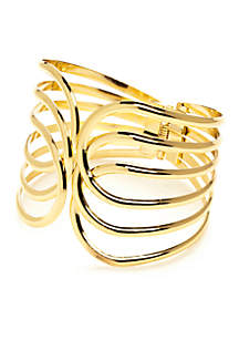 Open Work Hinged Metal Bangle