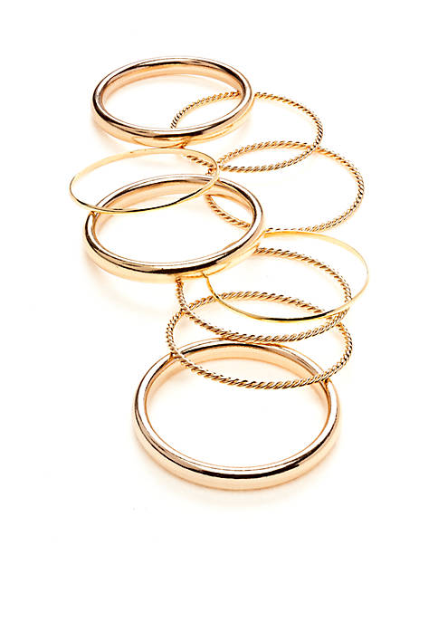 Gold-Tone Smooth and Rope Textured Bangle Set