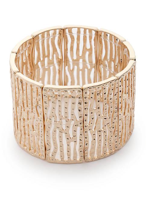 Gold Tone Wide Stretch Bracelet